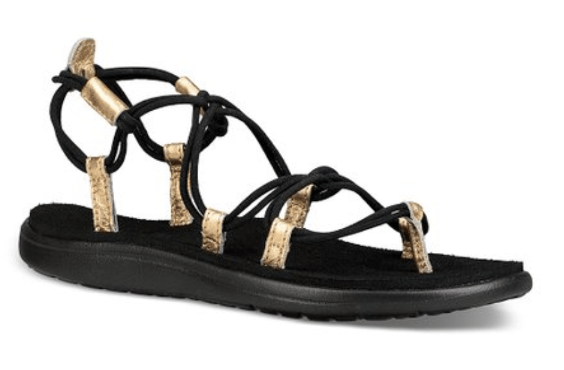 Womens Teva Sandals Black & Gold