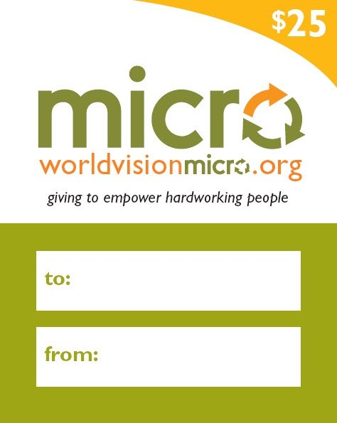 Giveaway: World Vision $25 Micro Loan Gift Card