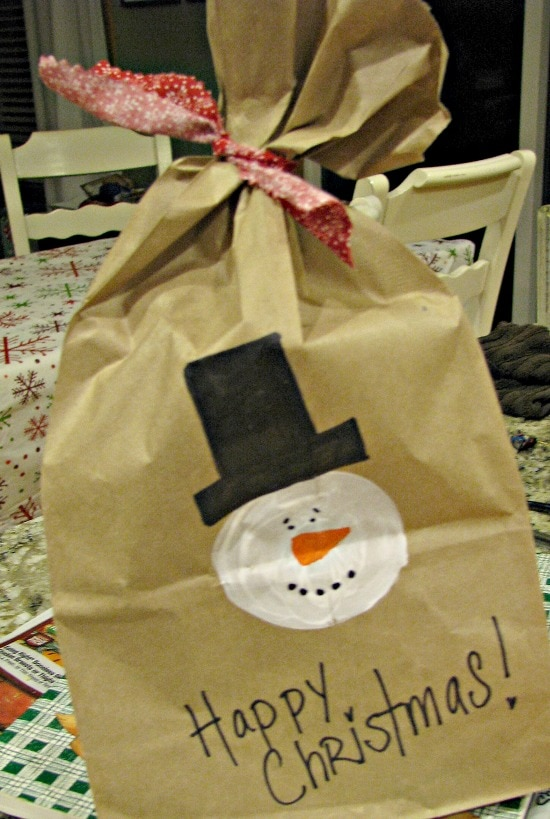 Snowman in a Bag Kit out of Paper Bag