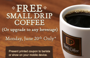 image relating to Peet Coffee Printable Coupon called Free of charge Little Espresso against Peets Espresso - Monday June 20th
