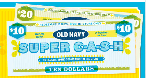 Old Navy – Spend $20, Earn $10 to use at Old Navy
