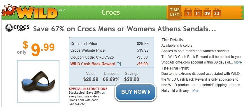 Shop At Home Wild Deal: Crocs Athen's Sandals for $9.99 Shipped!