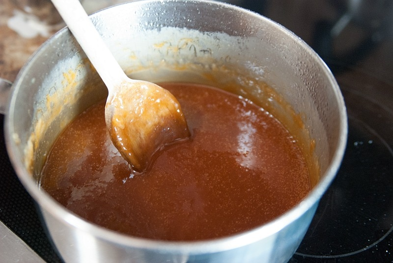 Homemade Caramel Sauce on the Stove