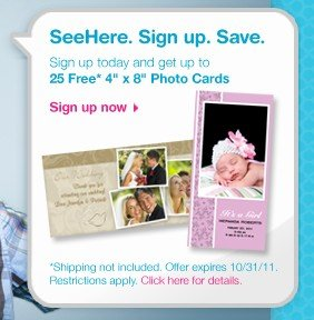 24 FREE 4×8 Photo Cards from SeeHere.com for NEW Customers – $2.49 shipped