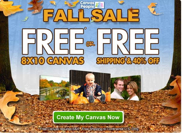 Canvas People Fall Sale – FREE 8×10 Canvas or FREE Shipping & 40% off