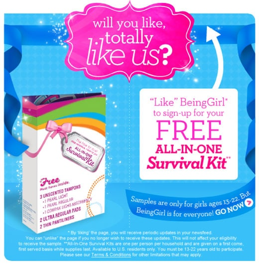 Free Sample of BeingGirl All in One Survival Kit