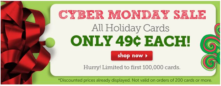 Cyber Monday deal from The Card Store – Get all Holiday Cards for $0.49 plus FREE Shipping!