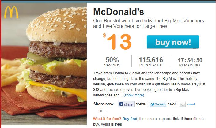 McDonald's – LivingSocial.com Deal and Coupon Booklet Deal