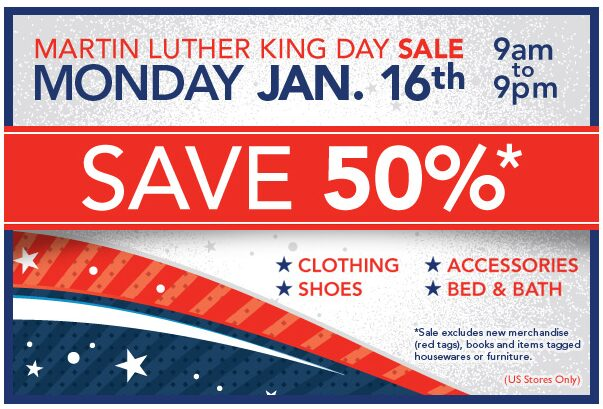 Value Village – 50% off Sale on Monday – Martin Luther King Day
