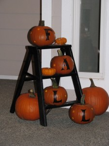 step ladder with pumpkins
