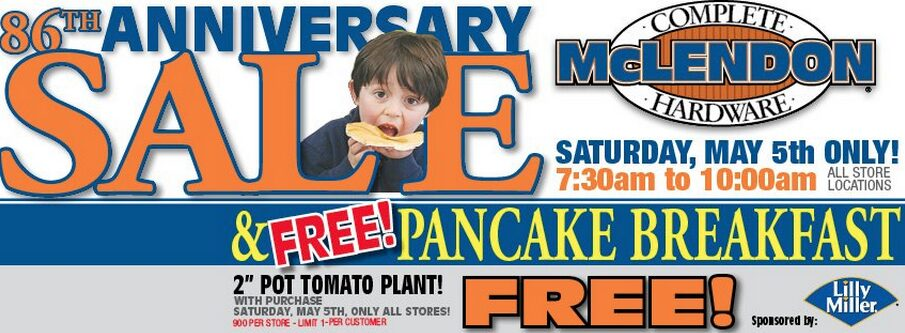 McLendons Free Pancake Breakfast & 2″ Tomato Plant with Purchase – Saturday April 5th