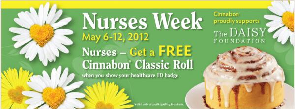 Cinnabon's – FREE For Nurses (May 6th -12th)