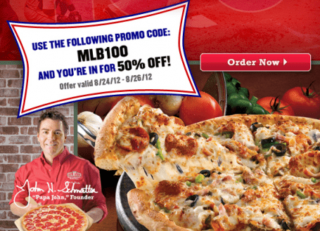 Papa johns pizza coupons 50 off