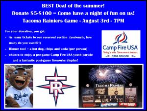 Rainier's Baseball Game – $5 (Includes Hot Dog & Soda)