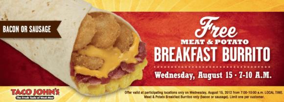 Taco Johns – Free Breakfast Burrito This Morning (8/15)