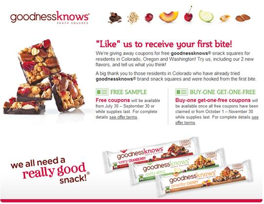 Buy One Get One Free Coupon For A Goodness Knows Bar