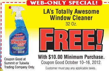 Free Window Cleaner at Summit Trading & Tukwila Trading