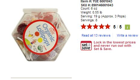 Vitacost – 63 Organic Lollipops for $.09 Cents For New Customers (Pay $4.99 Shipping)