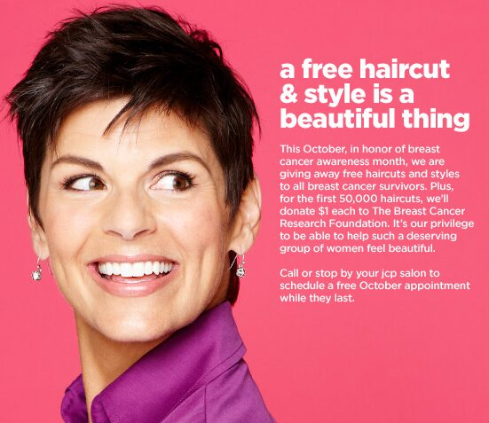 JCPenney: Free Haircuts for Breast Cancer Survivors in October