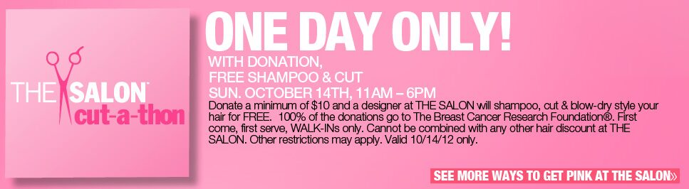 Ulta Salons: Free Haircut & Style with $10 Donation for Breast Cancer Research