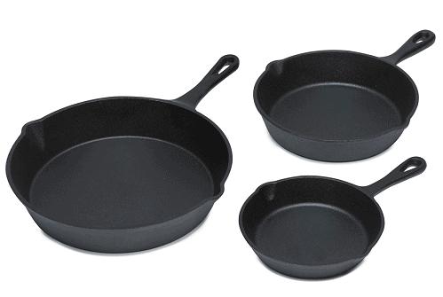 3 Piece Cast Iron Fry Pan Set