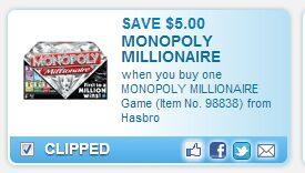Millionaire Monopoly $5 Off Coupon – $4.88 (Walmart)