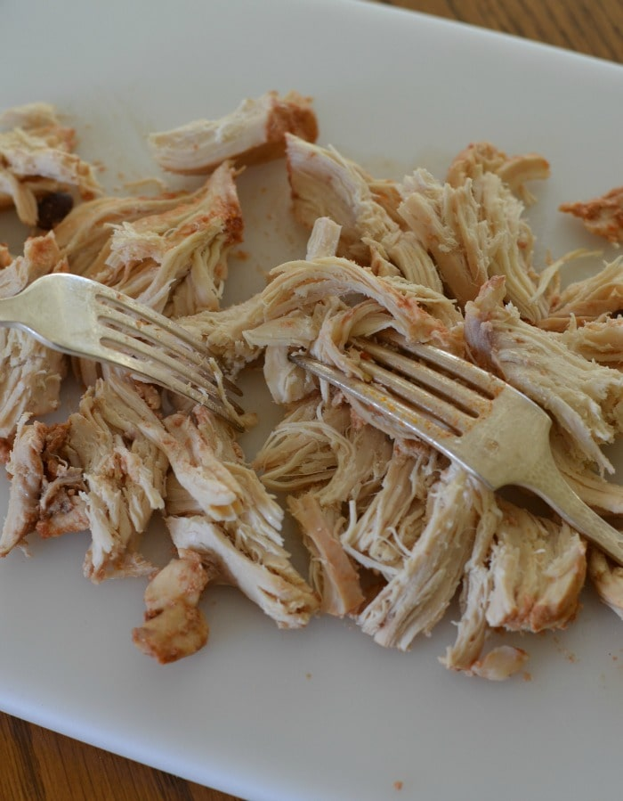 Shredding Chicken for Chicken Tortilla Soup