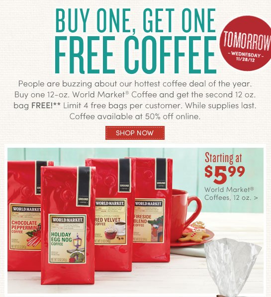 Cost Plus World Market – Coffee $2.98 Per Bag (Tomorrow, 11/28)