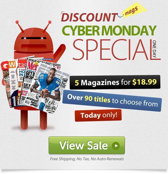 Cyber Monday Magazine Deals – 5 Magazines For $3.79 Ea!