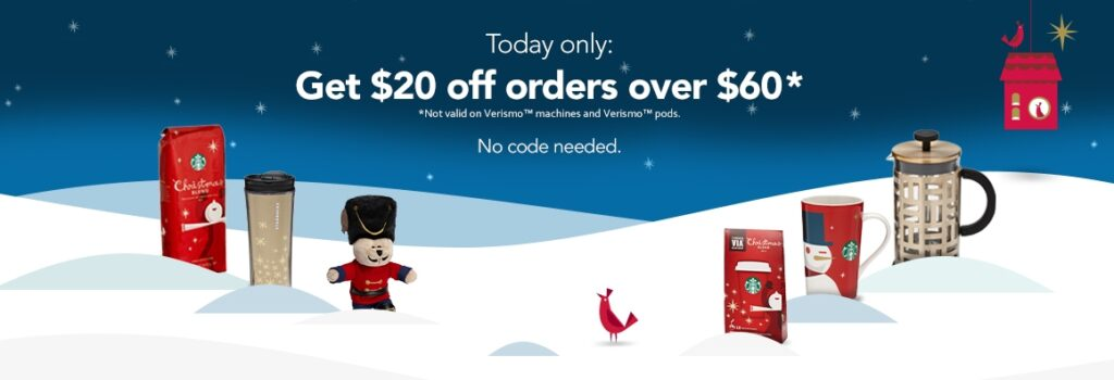 Starbucks – $20 Off $60 Purchase & Free Shipping!