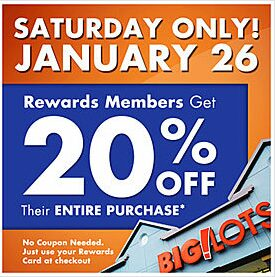 Big Lots – 20% off Discount for Saturday January 26th!