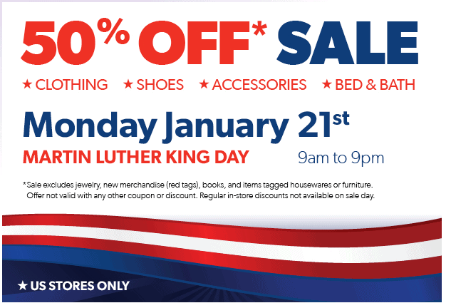 Value Village – 50% off Sale Today – #ValueVillage Martin Luther King Day Sale
