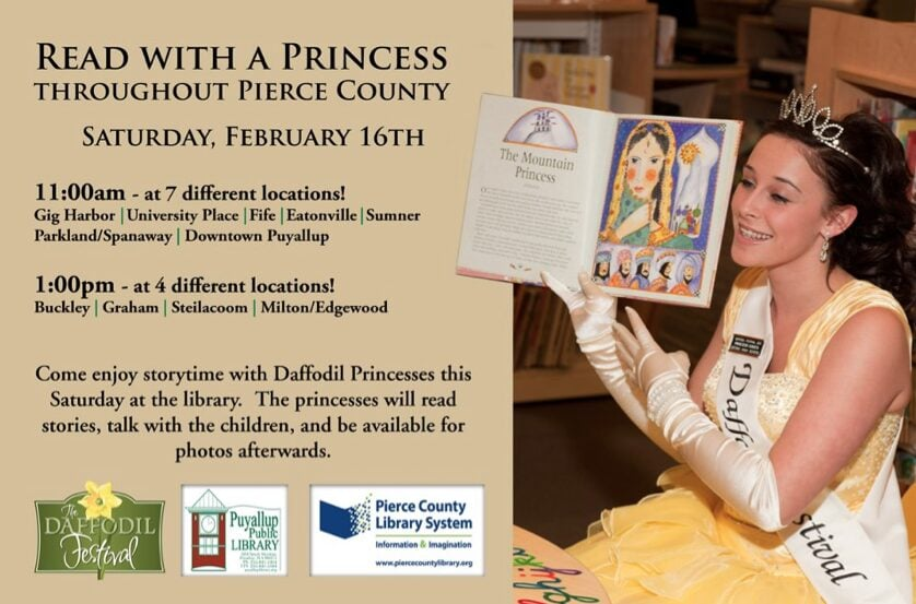 Read with a Daffodil Princess Event at Pierce County Libraries – Saturday February 16th