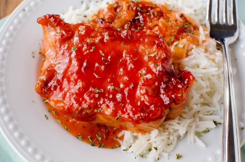 Apricot Pork Chops with Russian Dressing is a simple & fast recipe to put together & cook in the slow cooker all day for busy nights.