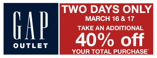 Gap Outlet Coupon: 40% off Entire Purchase