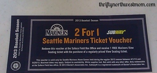 Mariners Discount Tickets: Buy 1 Get 1 Free Tickets with Subway Meal Purchase