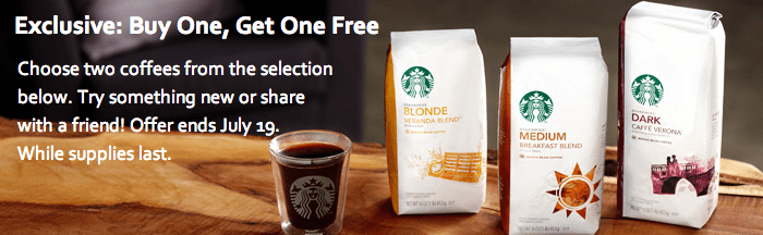 Starbucks – Buy One Get One Free Coffee through Friday July 19th