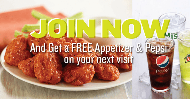 applebees perks free appetizer and pepsi