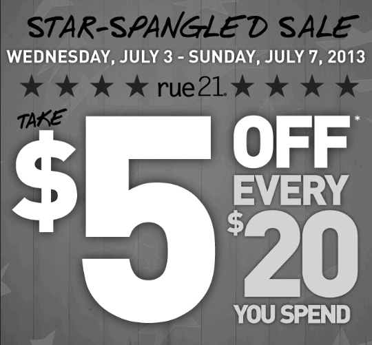 Rue21 – $5 Off $20 Coupon