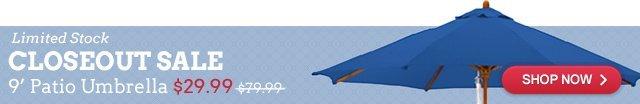 9′ Market Umbrella – Closeout Sale for $29.99!