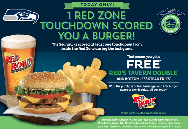 Free Red Robin Tavern Double Burger and Fries