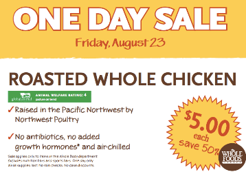 Whole Foods Roasted Chickens $5 (Today ONLY, 8/21)!
