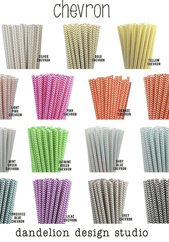 chevron and polka dot straws