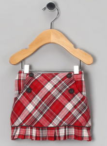 Red Plaid Ruffle Skirt