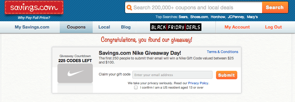Upcoming Nike Flash Giveaway  – 1st 250 People Receive Gift Cards up to $100!