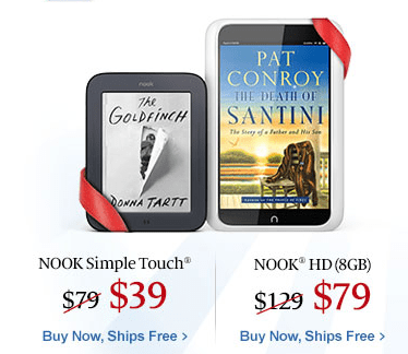 Nook HD on sale for $79 & Nook Simple Touch on sale for $39!