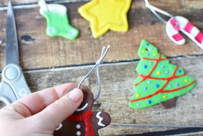 Attaching Ribbon to Salt Dough Ornaments