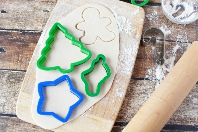 Cutting out Salt Dough for Ornaments