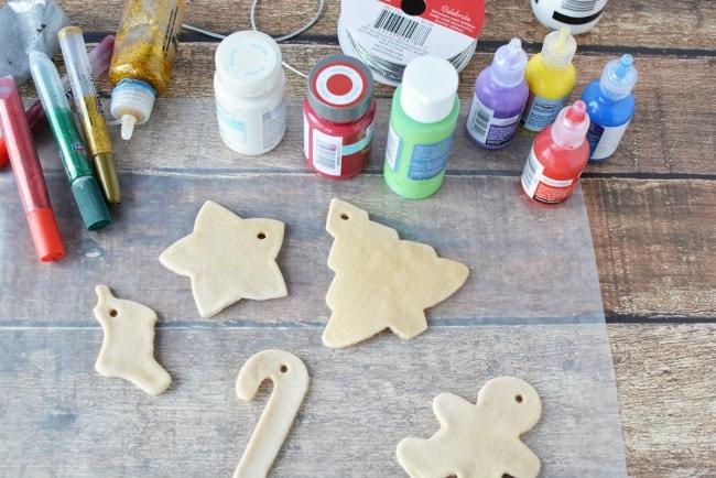 Getting ready to paint salt dough ornaments