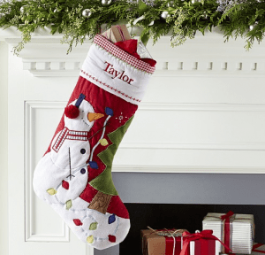 snowman quilted Stocking